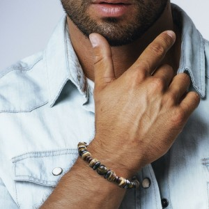 Bracelet Homme Femme Pierres Tiger Oeil du Tigre Hématite bois Lithothérapie Men